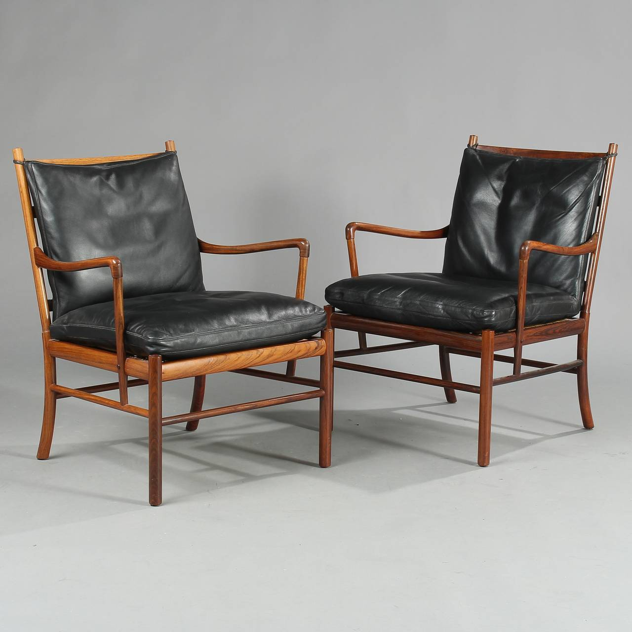 39 colonial 39 pj 149 armchairs in rosewood by ole wanscher for P jeppesen furniture