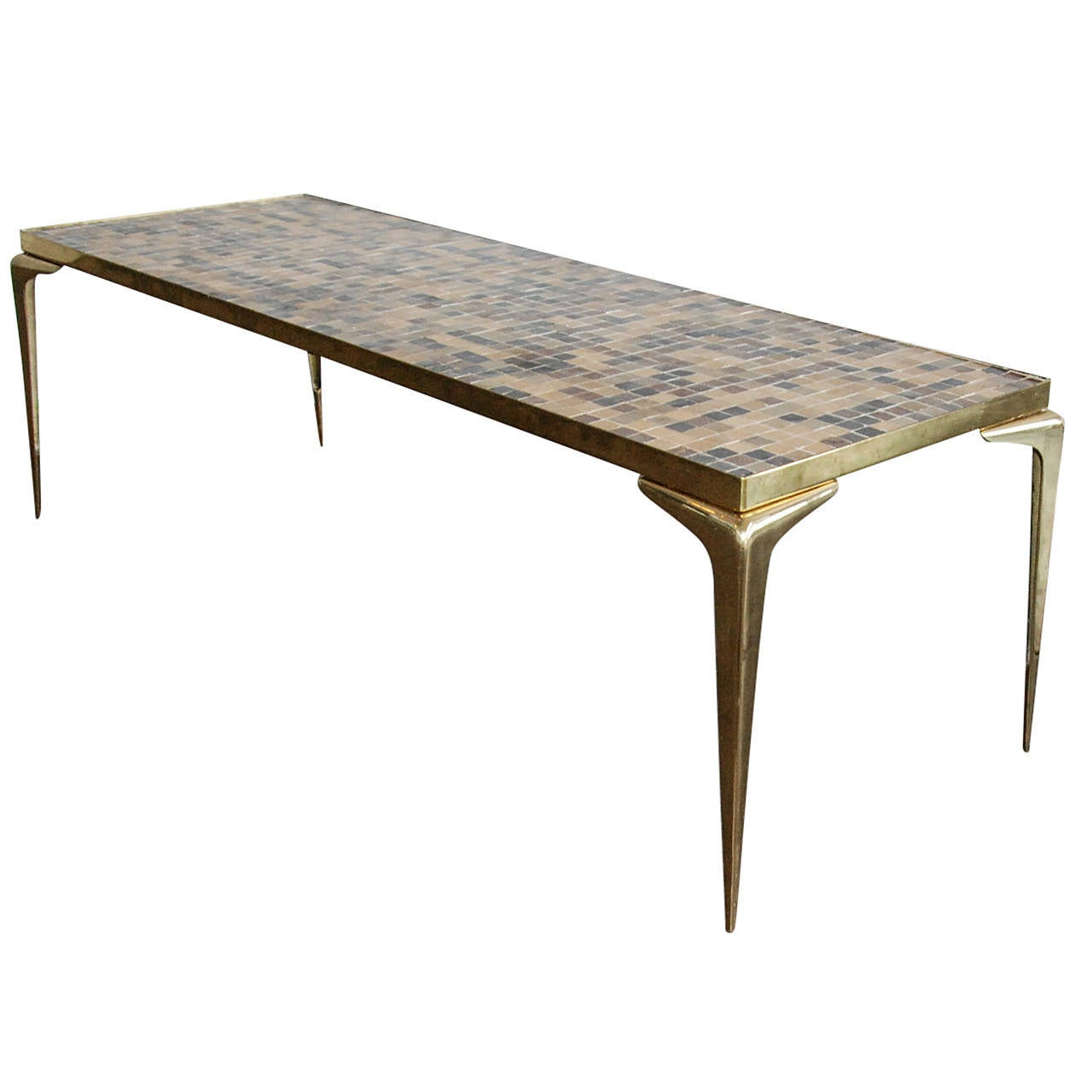 Italian Mosaic Glass Tile And Brass Cocktail Table, Circa