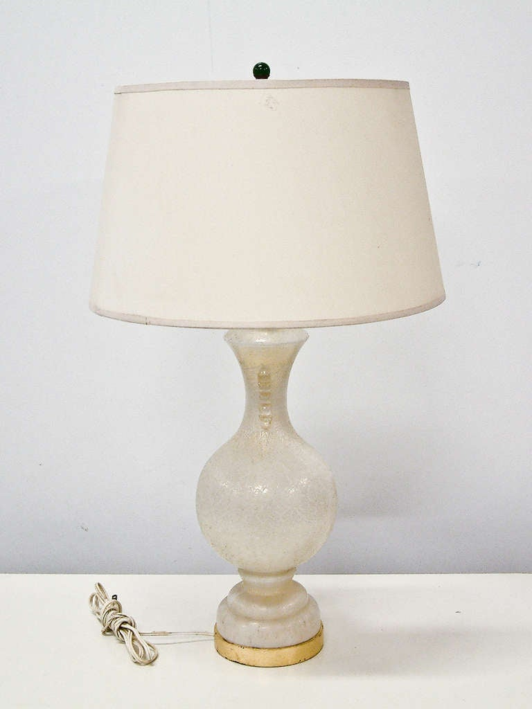 white and gold murano glass table lamp for sale at 1stdibs. Black Bedroom Furniture Sets. Home Design Ideas