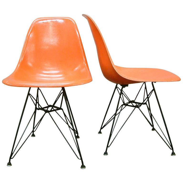 Charles And Ray Eames DSR Fiberglass Side Chairs Eiffel Tower At