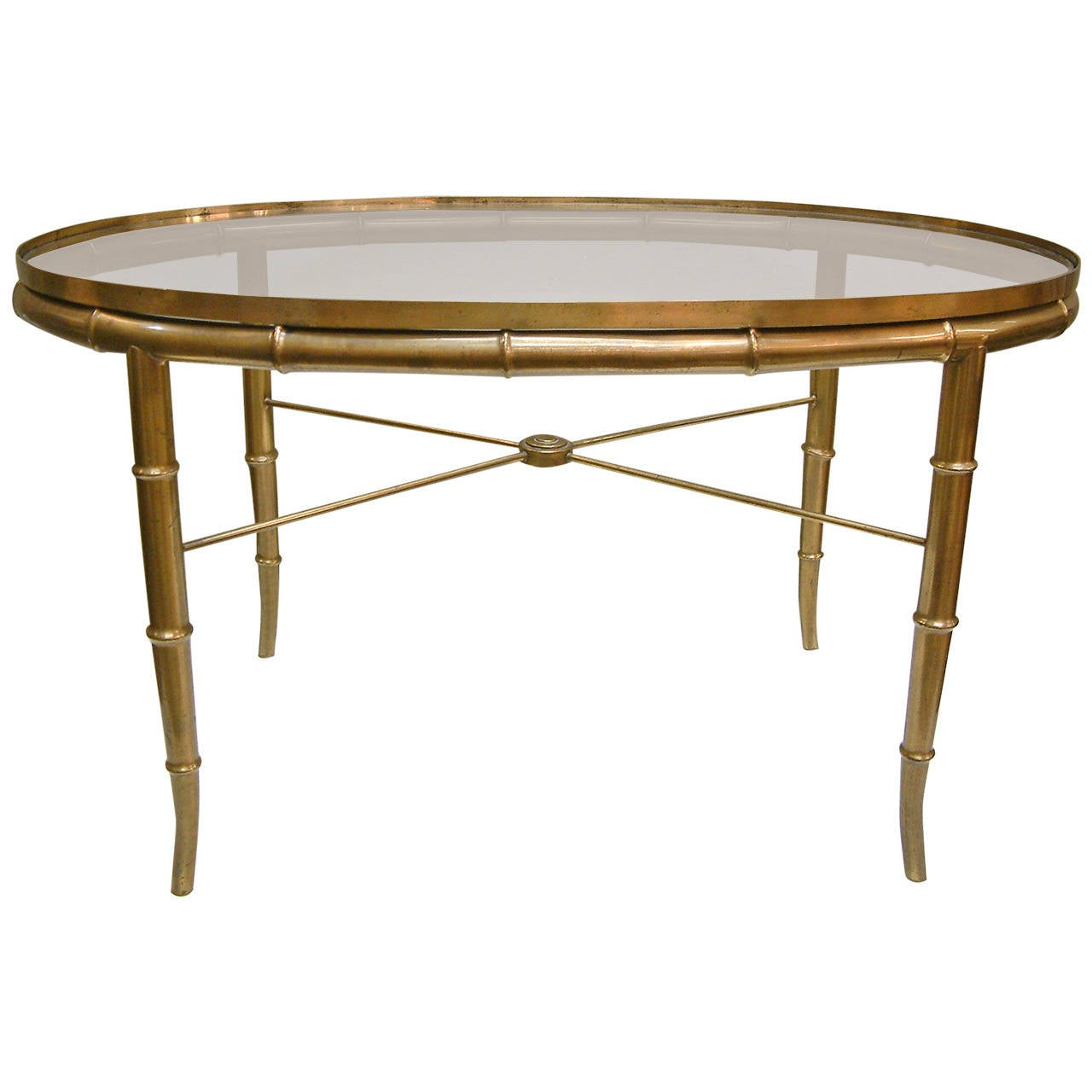 Italian Brass Faux Bamboo And Glass Table Attributed To Mastercraft Circa 1960 At 1stdibs
