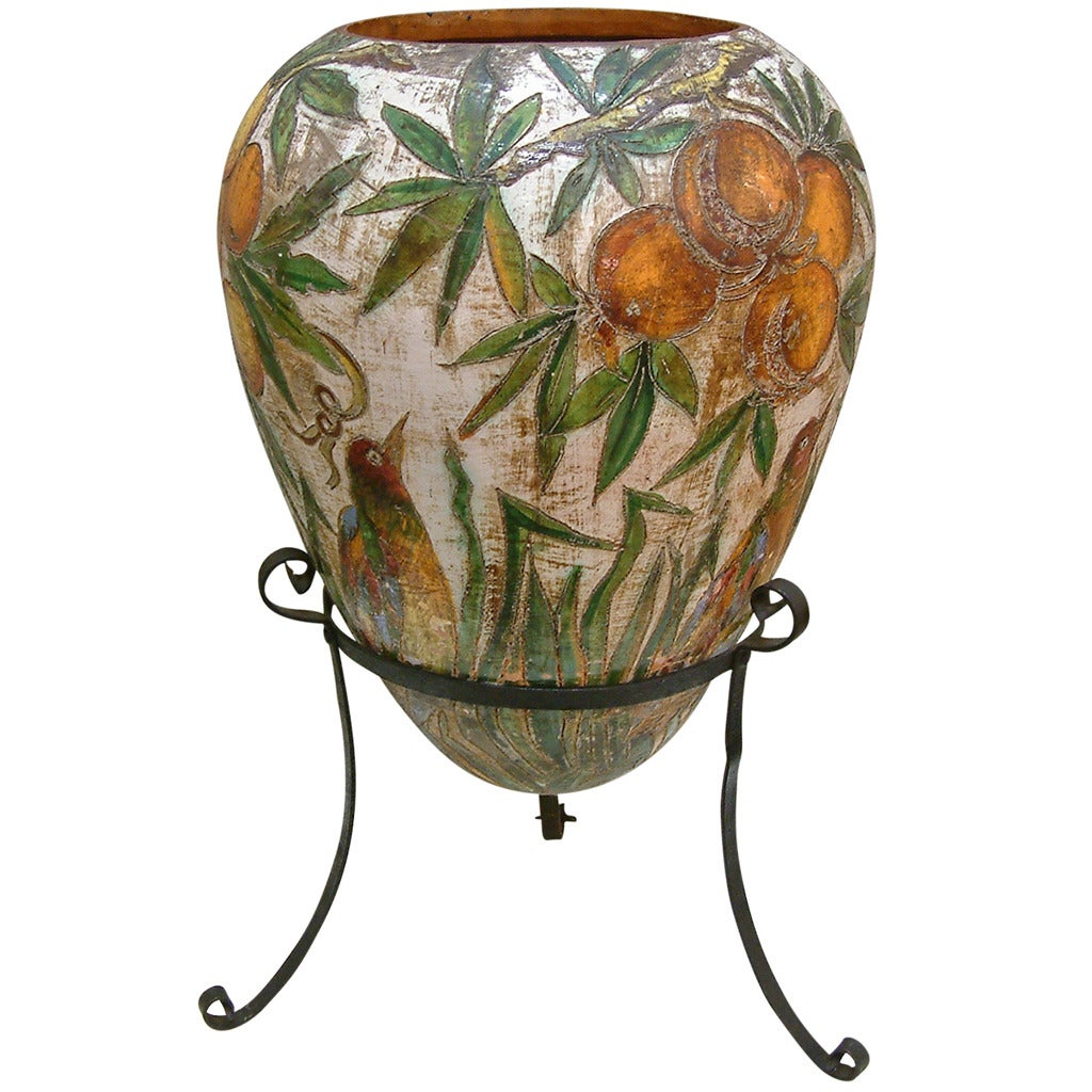 Monumental Italian Ceramic Floor Vase On Iron Stand Circa