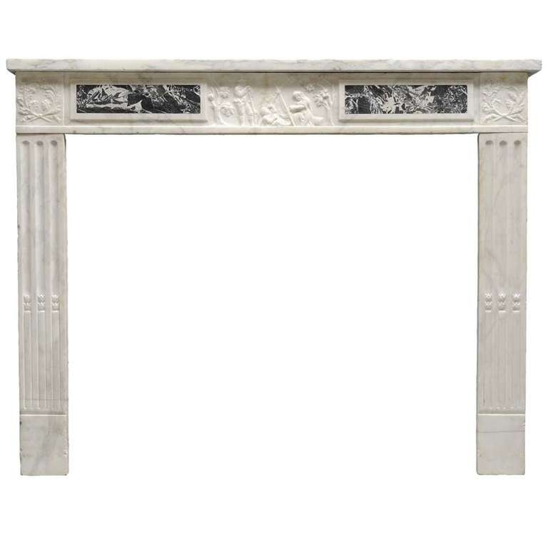 French Louis XVI Style White Marble Fireplace - 19th Century
