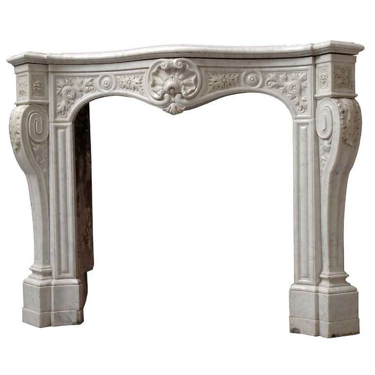 French Louis Xv Style White Marble Fireplace 19th Century At 1stdibs