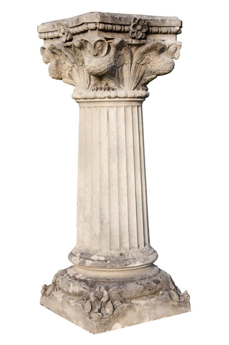 Neo Gothic Style Carved Stone Pedestal At 1stdibs