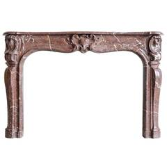 French Louis XV Period Red Marble Fireplace, 18th Century