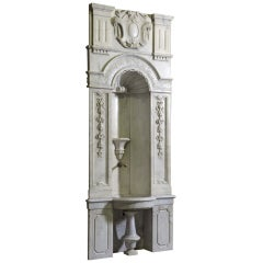 An important white Carrara marble fountain dated middle of 19th C. Origin : Roma