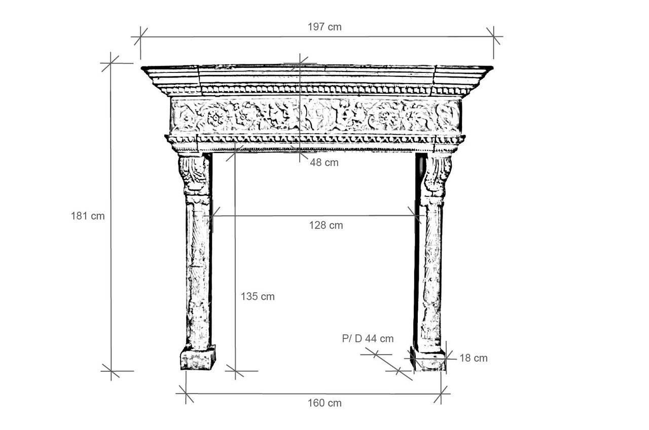 Italian Renaissance style limestone fireplace - late 19th century. 9