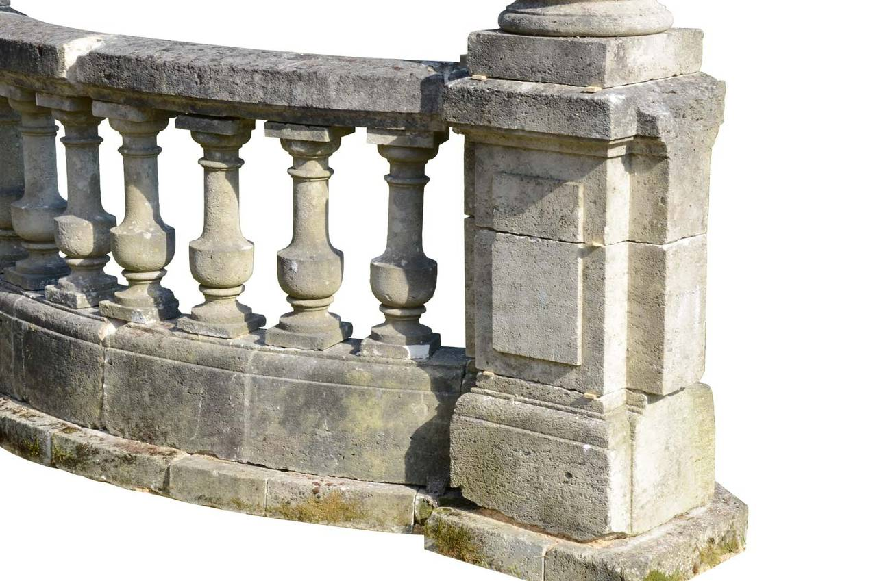 Stone Balustrade With Side Columns 19th Century At 1stdibs