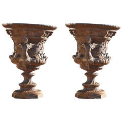 Pair of French Louis XIV Style Cast Iron Vases, 19th Century