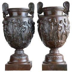 Rare Pair Of Cast Iron Vases After The Townley's Vase - 19th Century