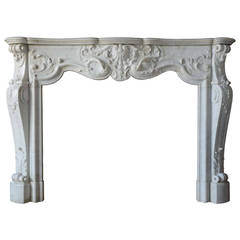 French Louis XV Style White Marble Fireplace, 19th Century