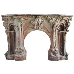 French Art Nouveau Period Stoneware Fireplace - Late 19th Century