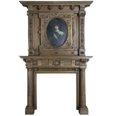 French Renaissance style wallnut fireplace - Ca 1880