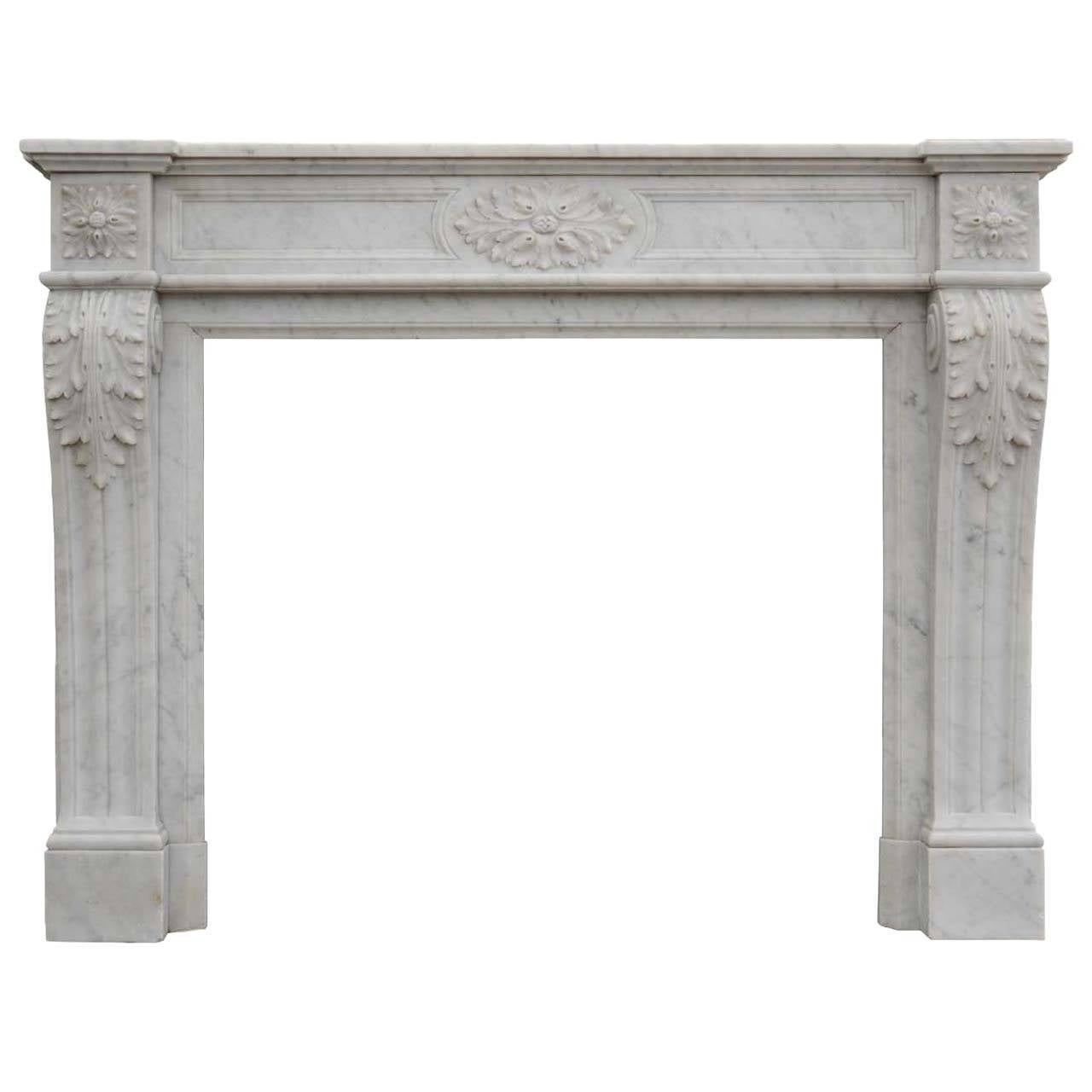 French Louis XVI Style White Marble Fireplace, 19th Century