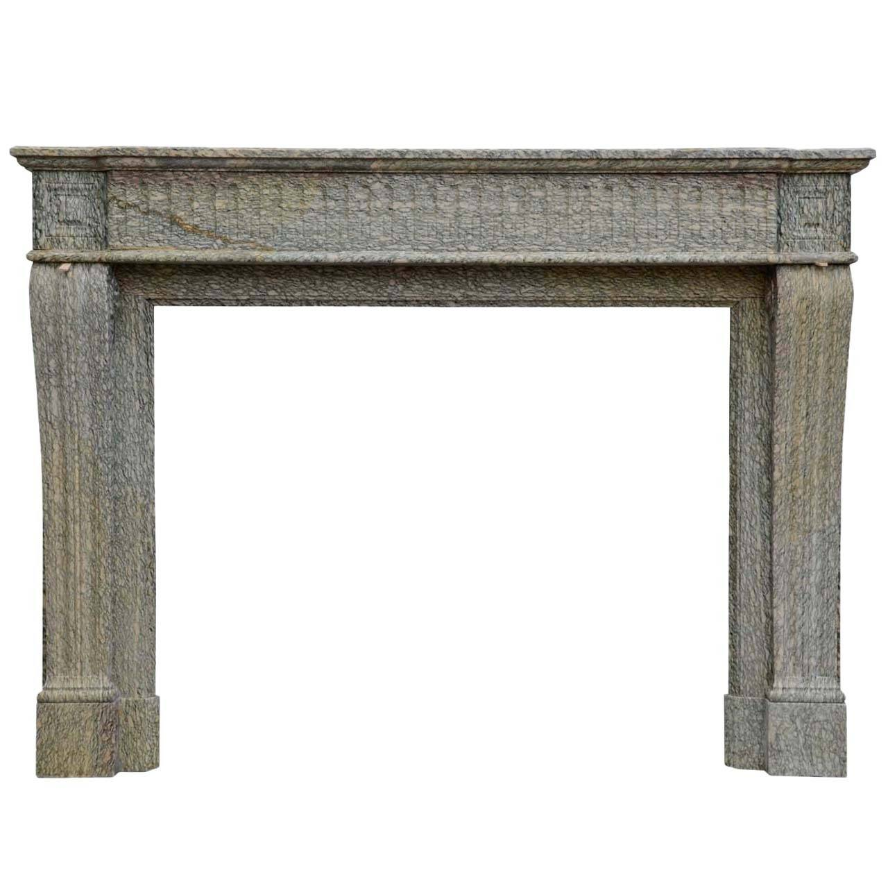 French Louis XVI Style Marble Fireplace, 19th Century