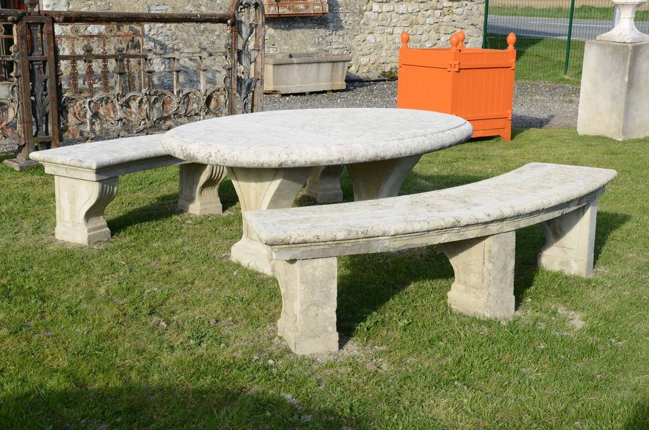 Composite stone table and two French Louis the 14th style benches dated late 19th Century.  Origin : Château de Bruyères-Le-Châtel (South Paris region). Ca 1900. Editor : Cuel's manufacture (see our illustrated document). # E6596 - E6598 -