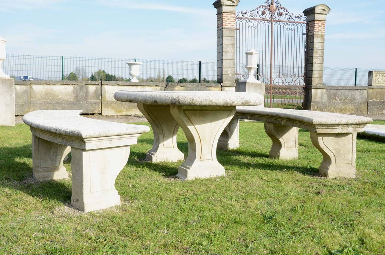 Louis XIV Composite Stone Table and Two Benches, 19th Century For Sale
