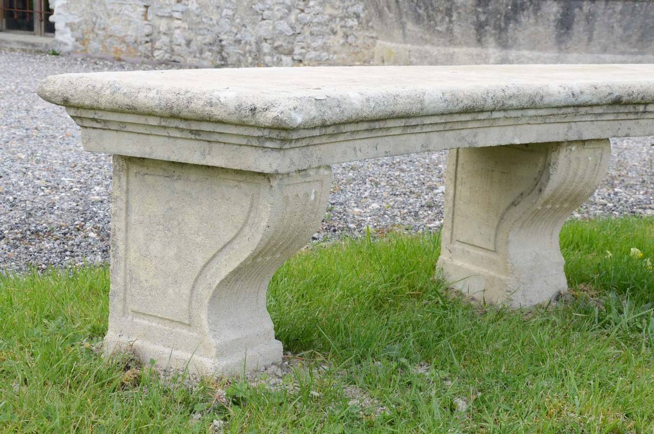 Composite stone bench dated late 19th Century.  Origin : Château de Bruyères-Le-Châtel (South Paris region). Ca 1900. Editor : Cuel's manufacture (see our illustrated document). # E6597.