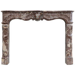 French Louis XV Period Marble Fireplace, 18th Century