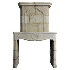 French Louis XIV Period Limestone Fireplace Early 18th Century