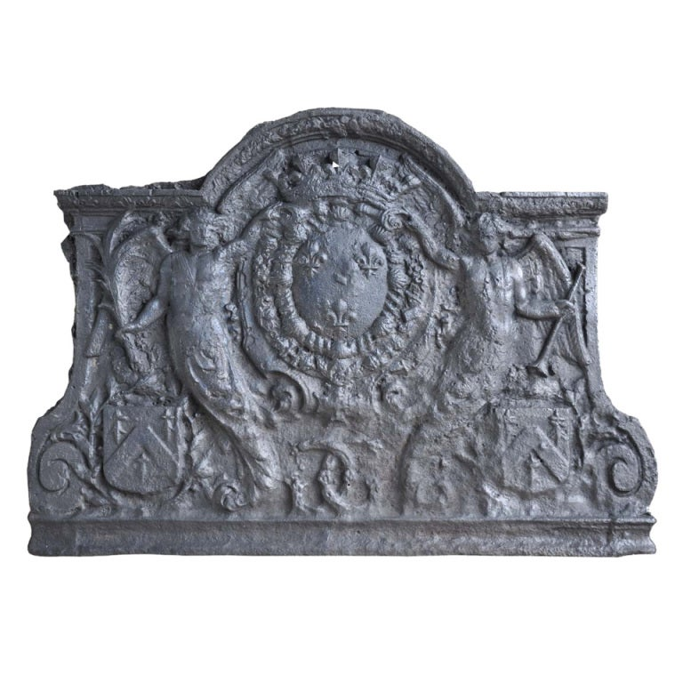 French Louis the 14th Cast Iron Fireback, Late 17th Century