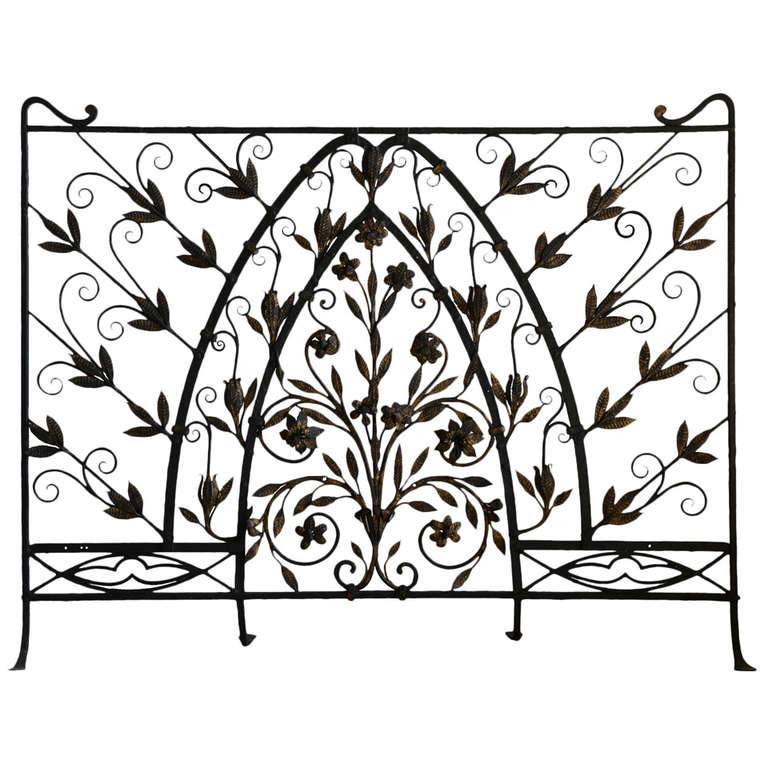 Wrought Iron Fire Screen Early 20th Century At 1stdibs