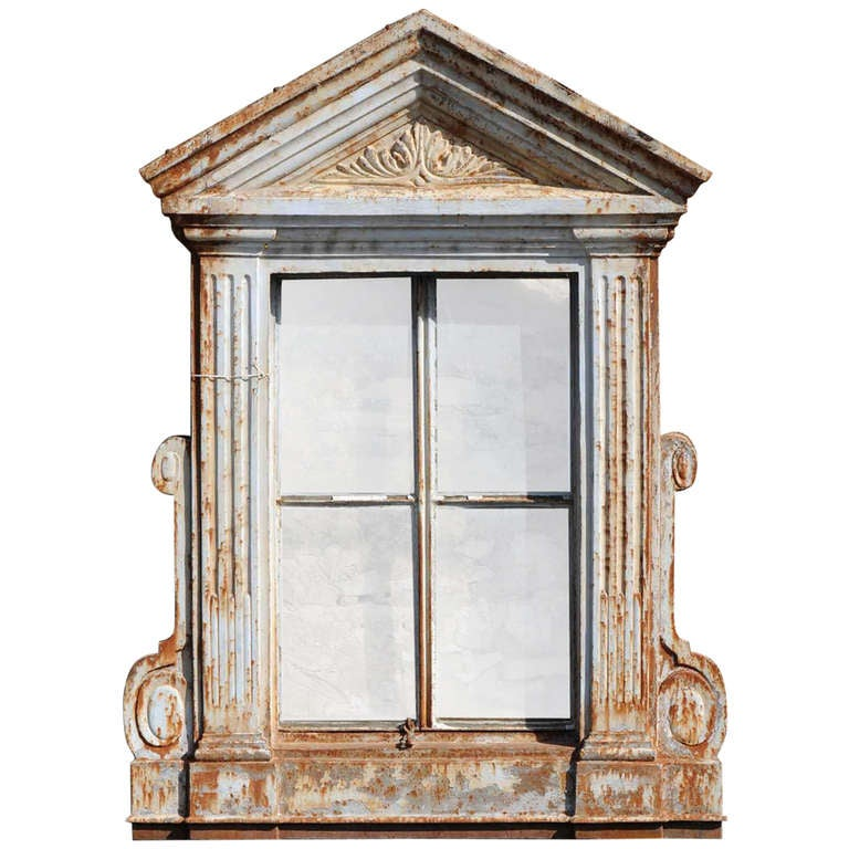 French Directoire Style Cast Iron Window Frame - 19th Century For Sale