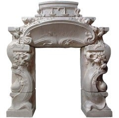 French Art Nouveau Period Limestone Fireplace ca. 1900