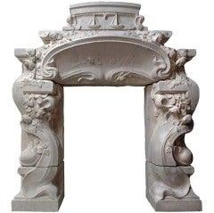 French Art Nouveau Period Limestone Fireplace, circa 1900