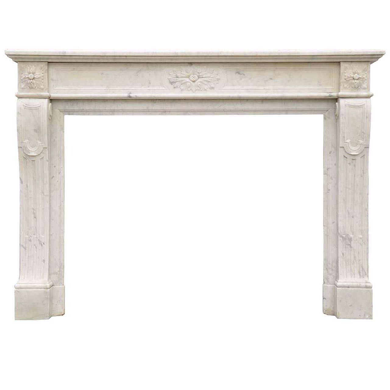 French Louis XVI Style White Marble Fireplace, 19th Century.