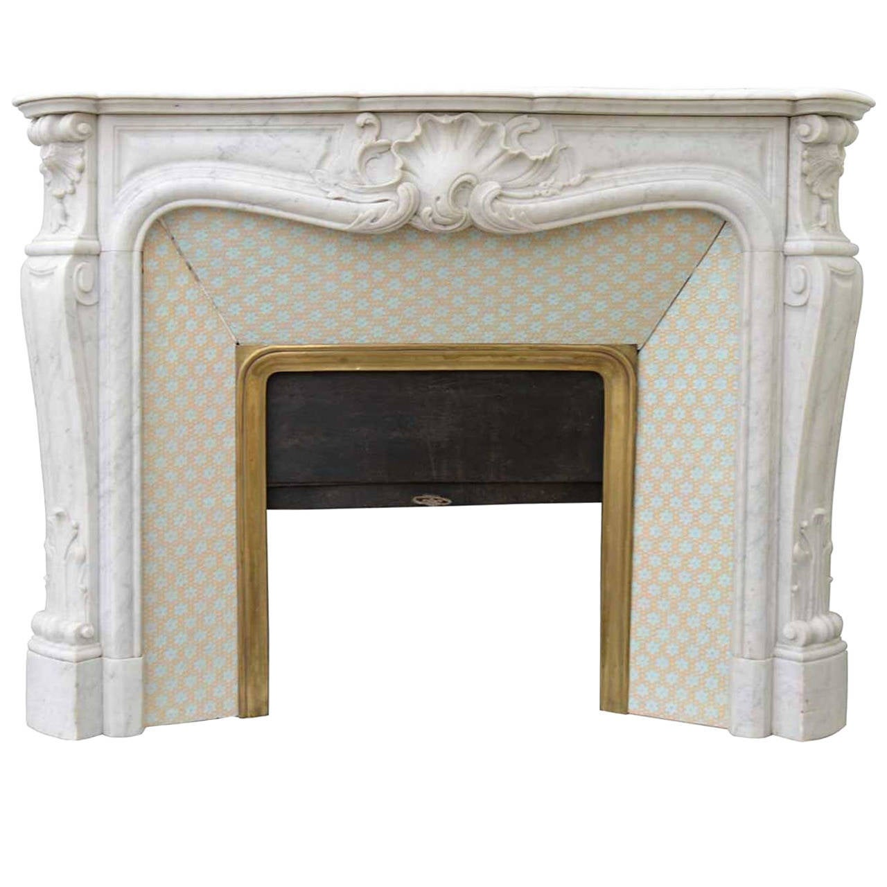 French Louis 15th Style White Marble Fireplace 19th