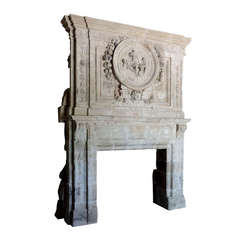 French Louis XIV Period Limestone Fireplace, 17th Century