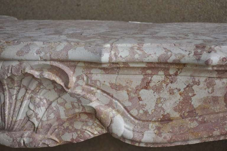 French Louis the 15th marble stone fireplace dated 18th century. For Sale 1