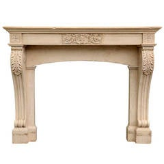 French Louis-Philippe Style Stone Fireplace, 19th Century