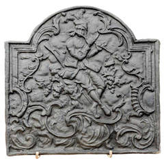 Cast Iron Fireback Representing a Flute Player, 18th Century