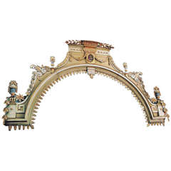 Carved wood triumphal arch - Gilted and painted - 19th Century