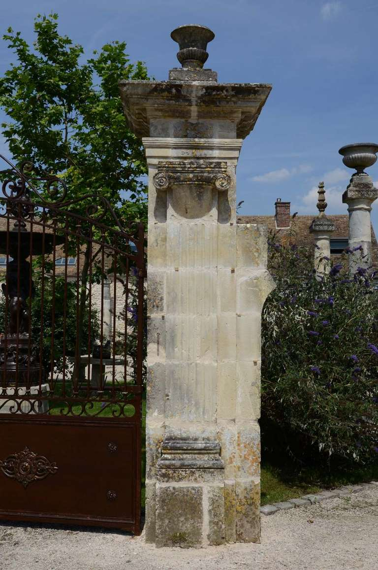 French Louis Xvi Period Stone Carved Pillars And Wrought