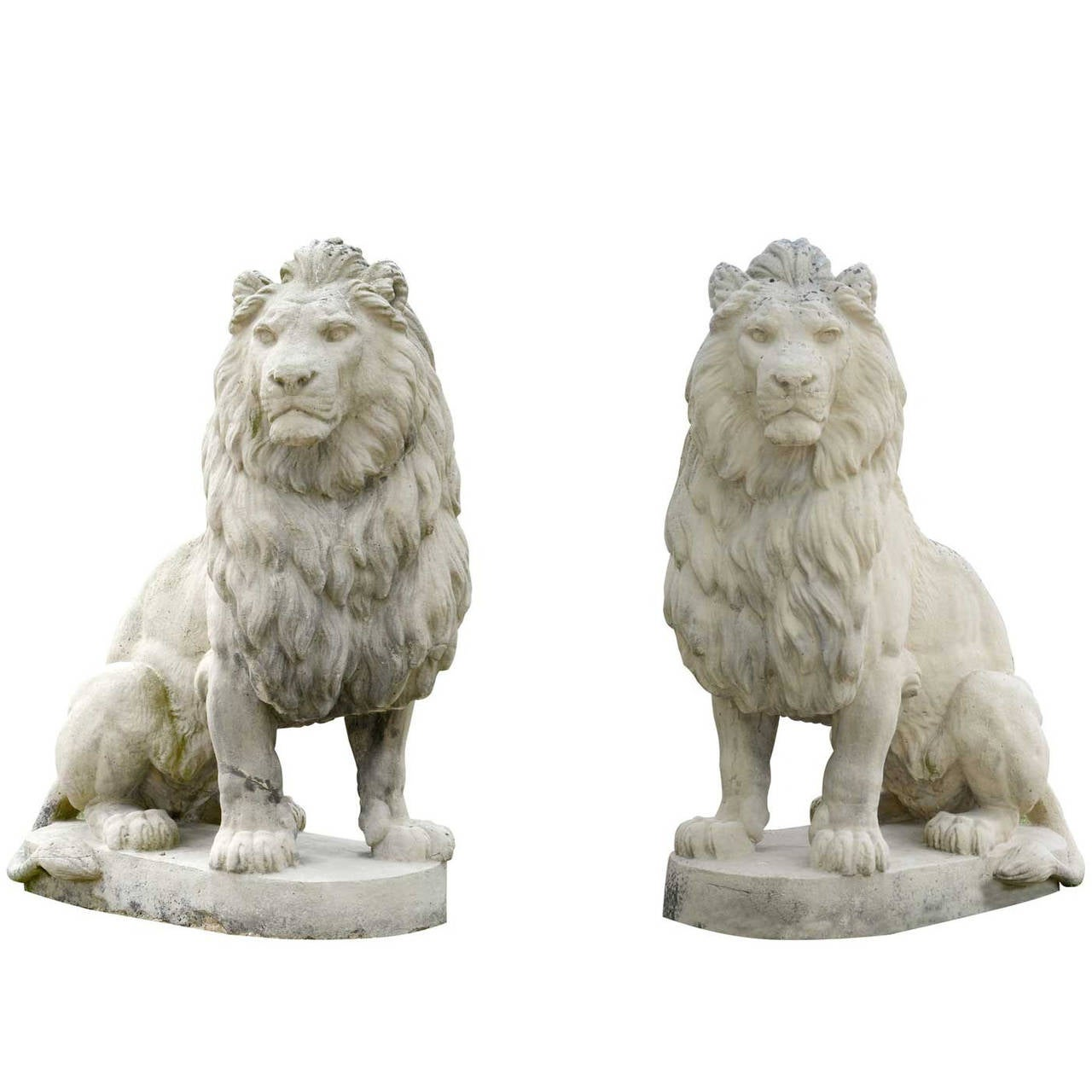 Pair Of Composite Stone Lion Statues 20th Century At 1stdibs