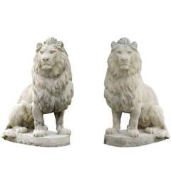 Pair of Composite Stone Lion Statues, 20th Century