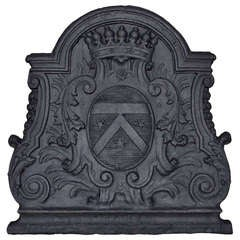 French Louis the 14th Period Cast Iron Fireback, Early 18th Century