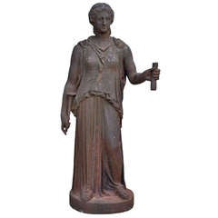 Cast Iron Statue, Dated Late 19th Century