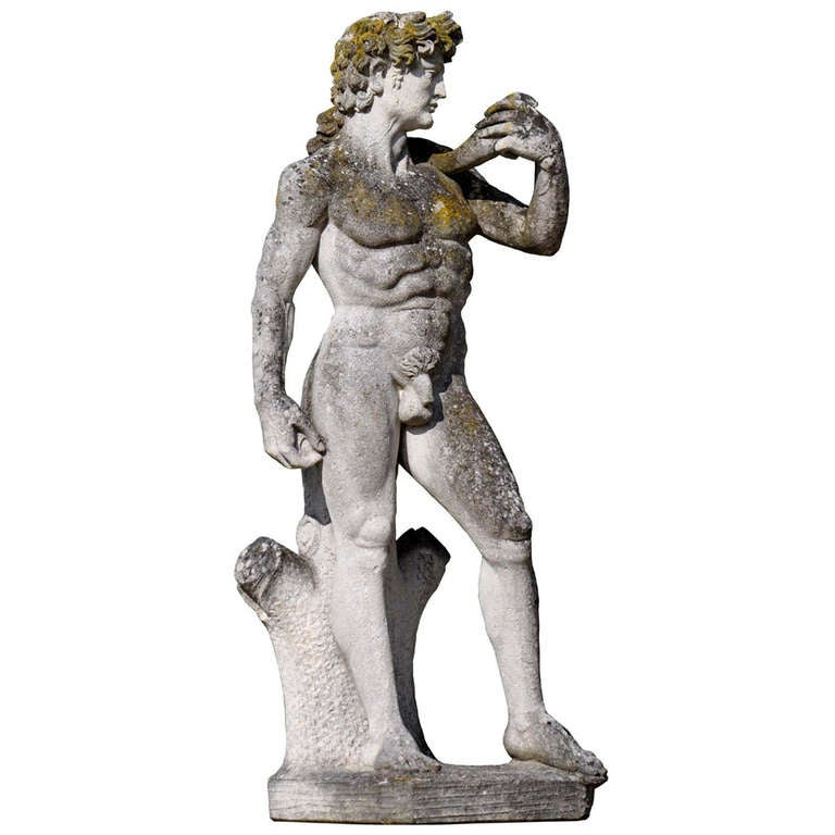 Carved Stone Figure of David after Michelangelo, circa 1960 For Sale
