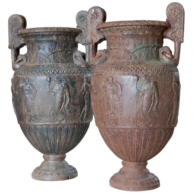 Pair of Cast Iron Vases, 19th Century