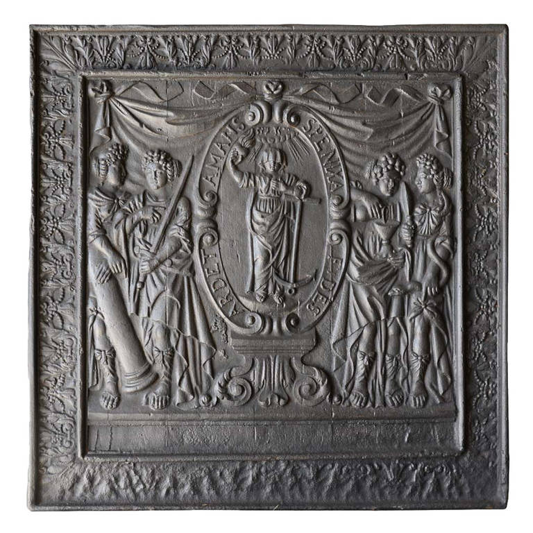 French Louis the 14th period cast iron fireback - Early 18th century.
