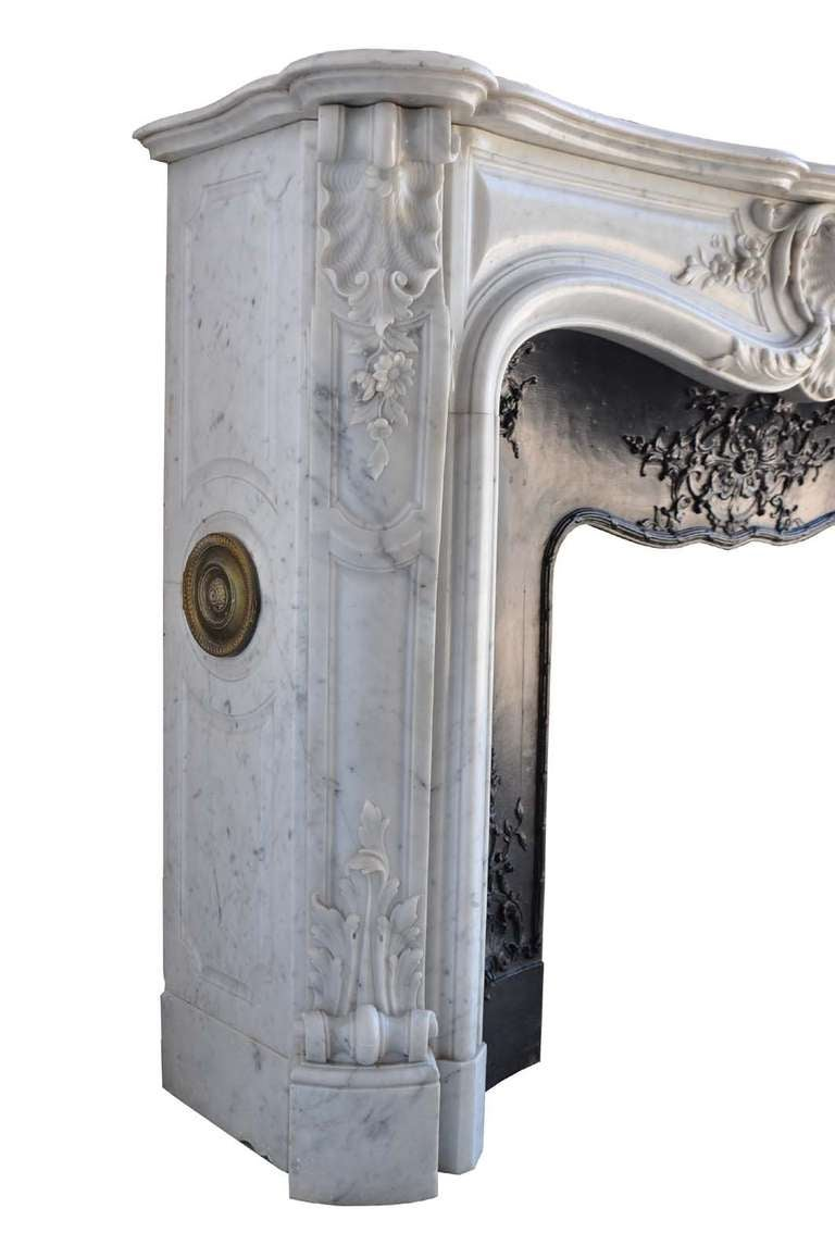 French Louis the 15th style white marble and cast iron fireback - 19th century 2