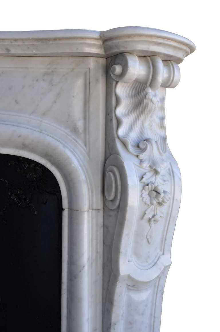 French Louis the 15th style white marble and cast iron fireback - 19th century 4