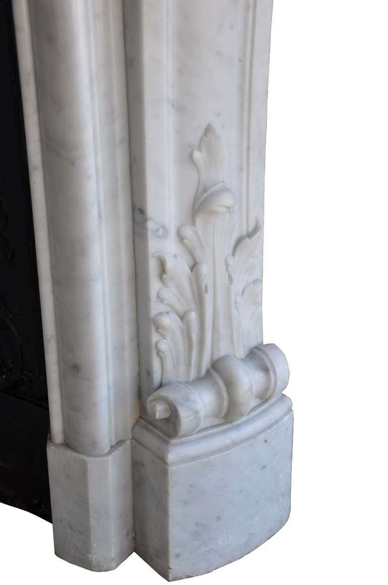 French Louis the 15th style white marble and cast iron fireback - 19th century 5