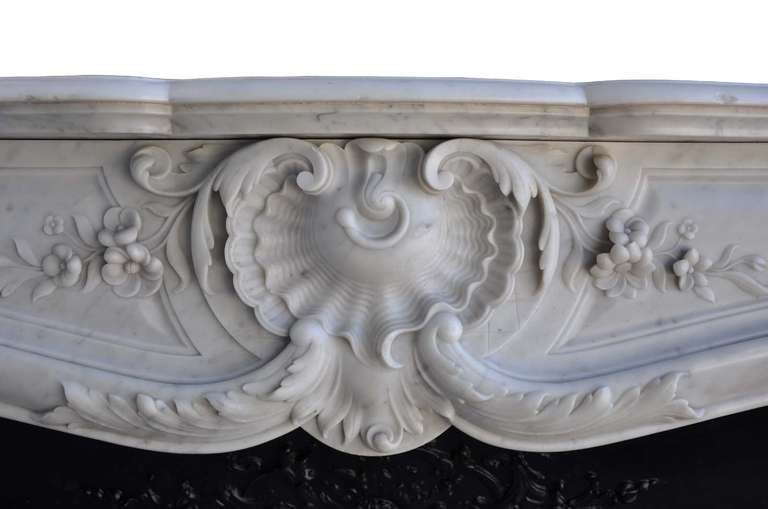 French Louis the 15th style white marble and cast iron fireback - 19th century 6