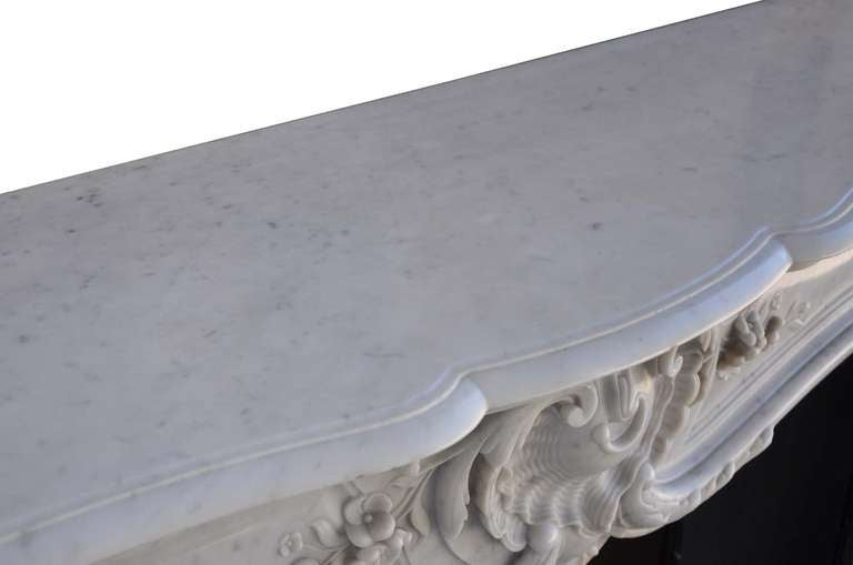 French Louis the 15th style white marble and cast iron fireback - 19th century 8
